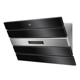 90cm inclined canopy rangehood, black glass & stainless steel